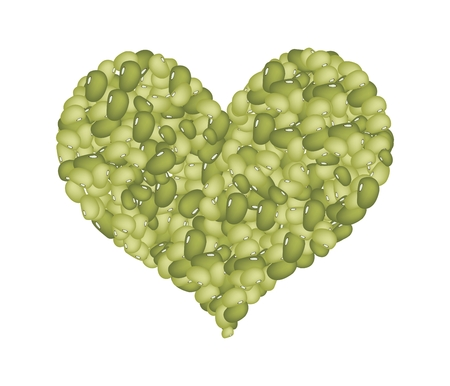 germinate: Love Concept, Stack of Dried Mung Beans Forming in A Heart Shape Isolated on A White Background Illustration
