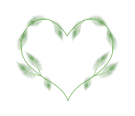 palm wreath: Love Concept, Illustration of A Heart Shape Frame Made of Fresh Leafy Palm Leaves Isolated on White Background. Illustration