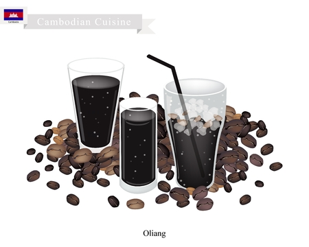 cambodian flag: Cambodian Cuisine, Oliang or Cambodian Black Iced Coffee. A Popular Drink in Cambodia.