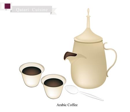 arabic coffee: Qatari Cuisine, Arabic Coffee or Coffee Brewed from Dark Roast Coffee Beans Spiced with Cardamom. A Popular Beverage in Qatar Illustration