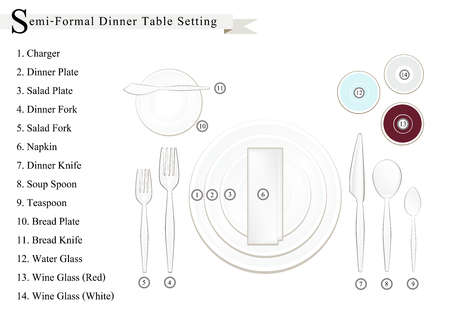 formal dinner: Formal Dinner, Business Dinner or Semi-Formal Dinner Place Setting Preparing for Special Occasions.