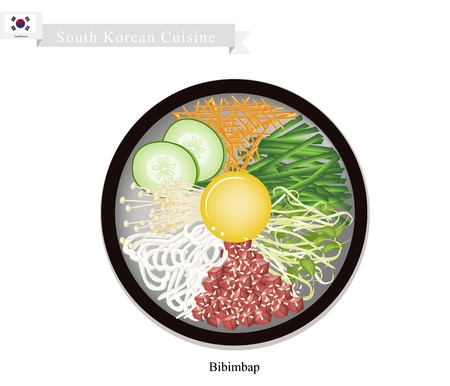 egg  yolk: South Korean Cuisine, Bibimbap or Korean Mixed Rice with Meat and Assorted Vegetables Topped with Egg Yolk and Chilli Paste. A Popular Dish in South Korea. Illustration