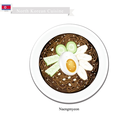 boiled egg: North Korean Cuisine, Naengmyeon or Cold Spicy Mixed Noodles with Kimichi, Vegetables Topped with Boiled Egg. One of The Most Popular Dish in North Korea.
