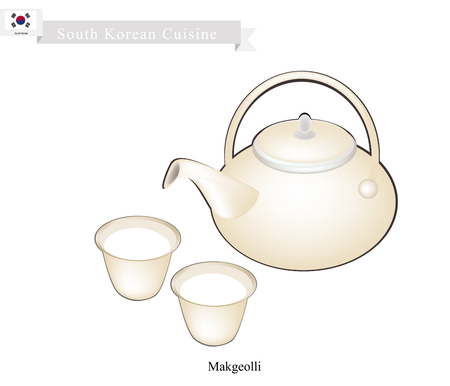 booze: Korean Cuisine, A Pot of Makgeolli or Korean Traditional Rice Wine with Cups. One of Most Popular Drink in Korea. Illustration