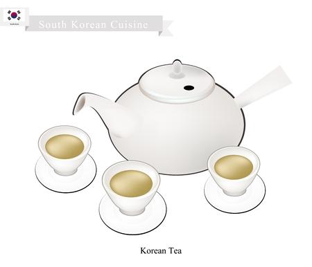 korean traditional: Korean Cuisine, A Pot of Korean Traditional Tea with Tea Cups. A Popular Beverage in Korea.