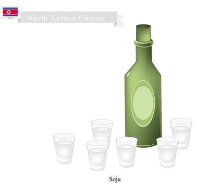 distilled: Korean Cuisine, Soju or Korean Traditional Distilled Beverage Containing Ethanol and Water. One of The Most Popular Drink in Korea.