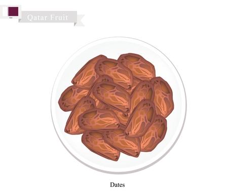 卡塔尔水果,一碗干枣插图。卡塔尔一种受欢迎的水果