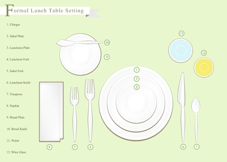 formal place setting: Formal Dinner, Business Dinner or Formal Lunch Place Setting Preparing for Special Occasions. Illustration