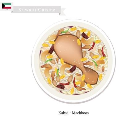 seasoned: Kuwaiti Cuisine, Kabsa, Machboos or Basmati Rice Seasoned with Chicken and Spice. A Popular Dish in Kuwait. Illustration