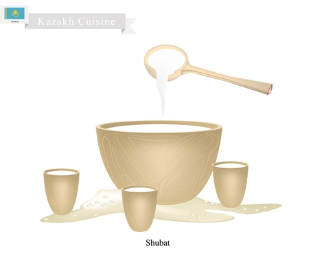 Kazakh Cuisine, Bowl of Chal, Shubat or Fermented Camel Milk with Cups. One of Most Popular Drink in Kazakhstan. Ilustração