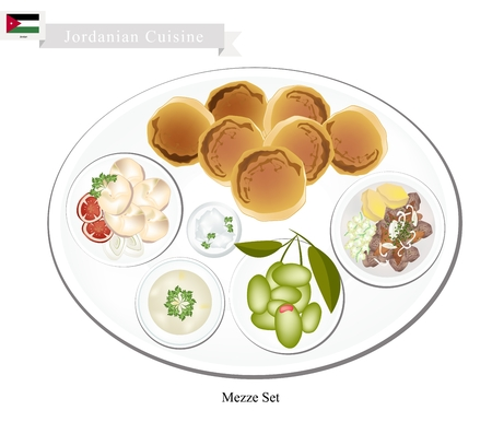 appetizers: Jordanian Cuisine, Mezze or Selection of Small Dishes As Appetizers Before The Main Dish. One of Most Popular Dish in Jordan. Illustration