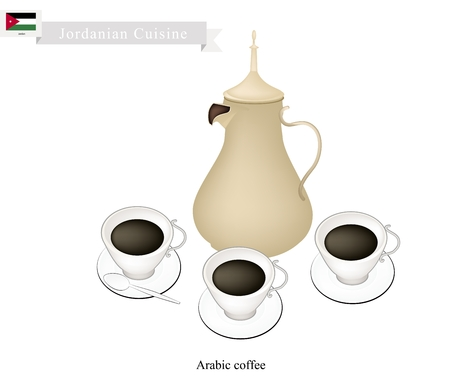 Jordanian Cuisine, Arabic Coffee or Coffee Brewed from Dark Roast Coffee Beans Spiced with Cardamom. One of The Popular Beverage in Jordan. Ilustração