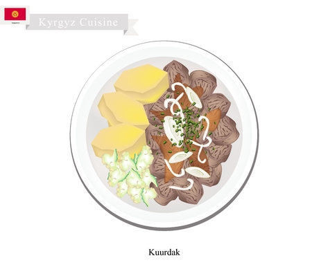 nomadic: Kyrgyz Cuisine, Kuurdak or Beef Stew Topped with Onion. One of Most Popular Dish in Kyrgyzstan.