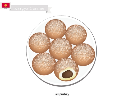 russian cuisine: Kyrgyz Cuisine, Pampushky or Sweet Raised Doughnuts Sprinkled with Powdered Sugar or Garlic. One of Most Popular Dish in Kyrgyzstan. Illustration