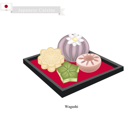 matsuri: Japanese Cuisine, Wagashi or Japanese Traditional Confectionery Often Served with Tea. One of The Most Popular Dessert in Japan.