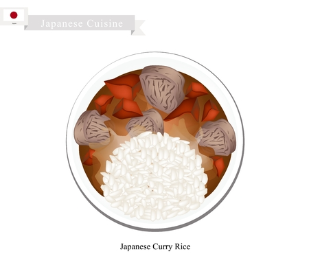 curry rice: Japanese Cuisine, Japanese Curry with Onions, Carrots, Potatoes and Beef, Pork or Chicken Served with Steamed Rice. One of The Most Popular Dish in Japan. Illustration