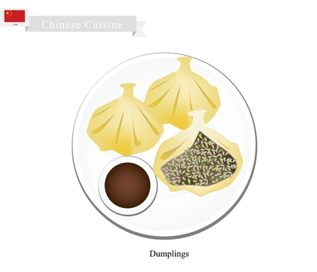 Chinese Cuisine, Illustration of Xiao Long Bao or Chinese Steamed Soup Dumplings. One of Most Popular Dumplings in China.