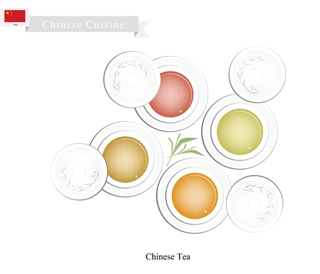 china cuisine: Chinese Cuisine, Set of Chinese Traditional Tea Made From Tea Leaves and Boiled Water. A Popular Beverage in China. Illustration