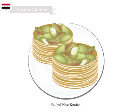 pistachio: Syrian Cuisine, Bulbul Nest Knafeh or Traditional Levantine Cheese Pastry Topping with Pistachio and Syrup. One of The Most Popular Dessert in Syria.