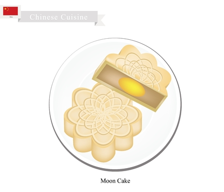 china cuisine: Chinese Cuisine, Moon Cake or Chinese Round Pastry Filled with Red Bean or Lotus Seed Paste for Chinese Mid-Autumn Festival. One of Most Popular Dessert in China.