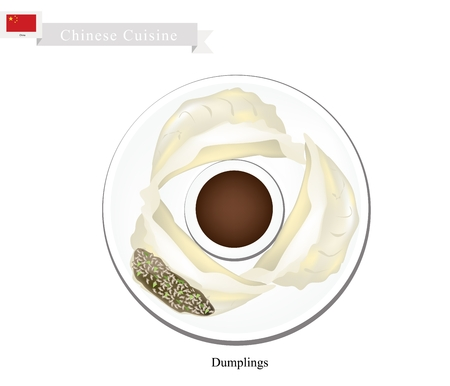 Chinese Cuisine, Illustration of Jiaozi or Chinese Steam Dumplings Served with Soy Sauce. One of Most Popular Dumplings in China.