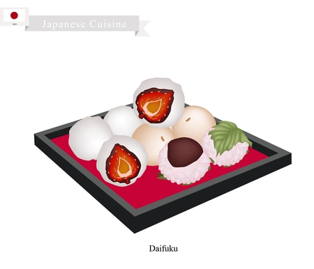 Japanese Cuisine, Japanese Traditional Confectionery Daifuku and Mochi Often Served with Tea. One of The Most Popular Dessert in Japan. Illustration
