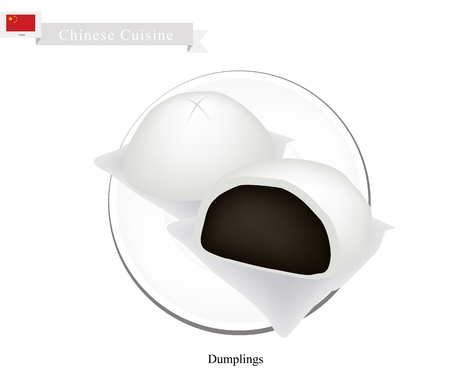 china cuisine: Chinese Cuisine, Illustration of Chinese Steamed Bun Stuffed With Sweet Black Bean Cream. One of Most Popular Dumplings in China.