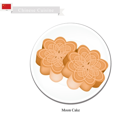 mooncake festival: Chinese Cuisine, Moon Cake or Chinese Round Pastry Stuffed with Red Bean or Lotus Seed Paste for Chinese Mid-Autumn Festival. One of Most Popular Dessert in China.