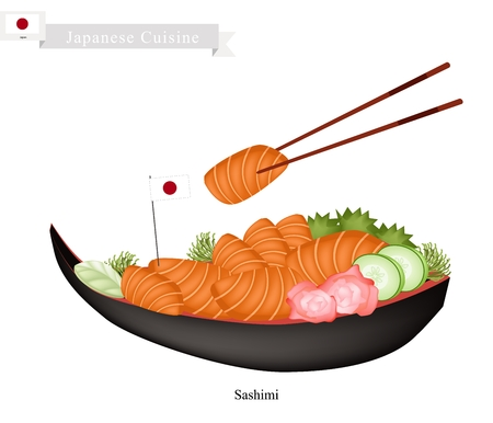 hashi: Japanese Cuisine, Illustration of Traditional Salmon Sashimi and Wasabi. One of The Most Popular Dish in Japan.