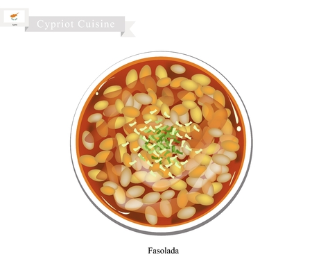 Cypriot Cuisine, Fasolada or Bean Soup made with Cannellini Beans, Olive Oil and Vegetables. One of Most Popular Dish in Cyprus.