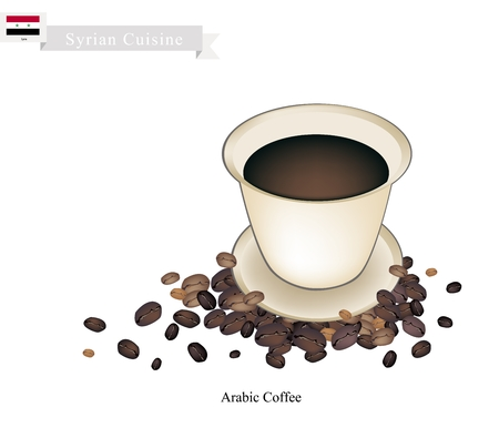 brewed: Syrian Cuisine, Arabic Coffee or Coffee Brewed from Dark Roast Coffee Beans Spiced with Cardamom. One of The Popular Beverage in Syria.
