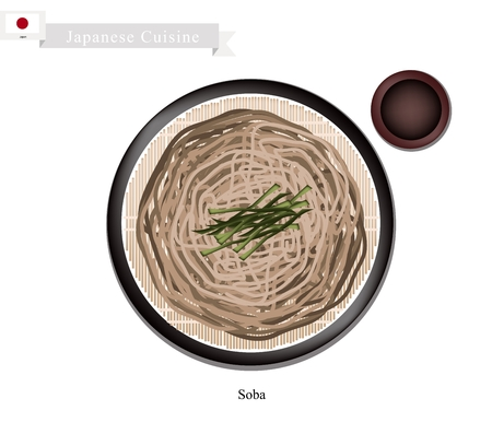 dipping: Japanese Cuisine, Soba or Buckwheat Noodles and Dried Seaweed Served with A Dipping Sauce. One of The Most Popular Dish in Japan.