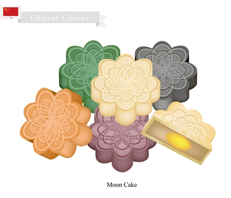 mooncake festival: Chinese Cuisine, Chinese Moon Cake Filled with Red Bean or Lotus Seed Paste for Chinese Mid-Autumn Festival. One of Most Popular Dessert in China. Illustration