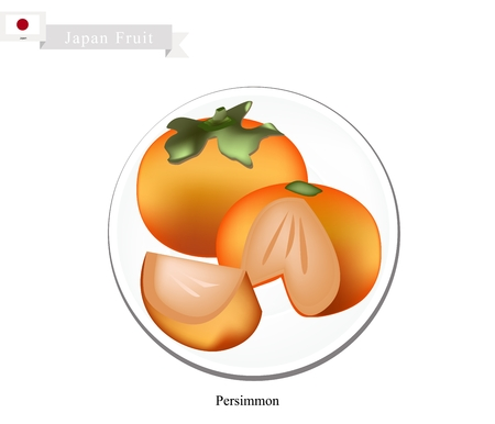 national fruit of china: Japan Fruit, Ripe and Sweet Kaki or Japanese Persimmon. One of The Most Popular Fruits in Japan.