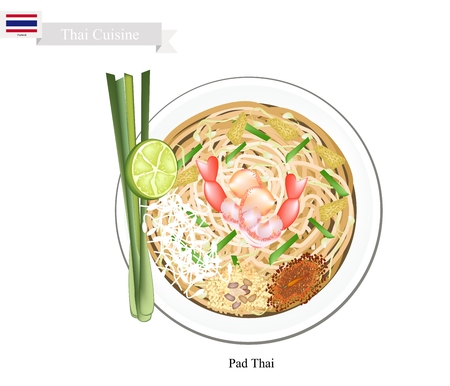 Thai Cuisine, Pad Thai or Traditional Thai Stir Fried Noodles with Shrimps. One of The Most Popular Dish in Thailand. Illustration