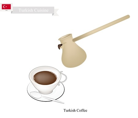 Turkish Cuisine, Turkish Coffee with Cezve or Turkish Coffee Pot. One of The Popular Beverage in Turkey.
