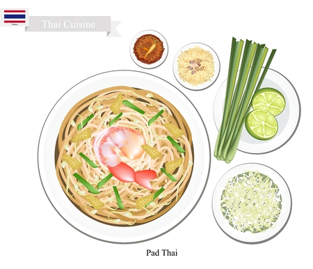 Thai Cuisine, Pad Thai or Thai Traditional  Stir Fried Noodles with Shrimps. One of The Most Popular Dish in Thailand.