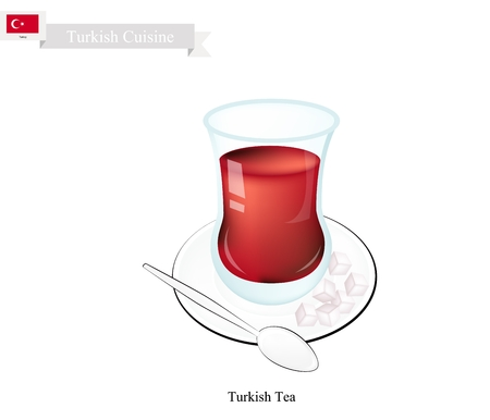 glass cup: Turkish Cuisine, Traditional Black Hot Sweet Tea. One of The Most Popular Beverage in Turkey.