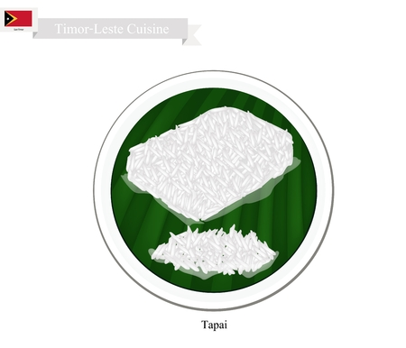 sweetmeat: Timor-Leste Cuisine, Tapai or A Sweetmeat Consisting of Fermented Glutinous Rice in Banana Leaf Container. One of The Most Popular Dish in Timor-Leste.