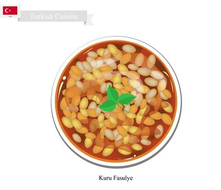 kuru: Turkish Cuisine, Kuru Fasulye or Dried Bean Stew with Paprika and Tomato Sauce. One of The Most Popular Dish in Turkey. Illustration