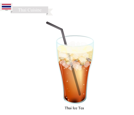 ice tea: Thai Cuisine, Thai Ice Tea Served with Milk. One of The Most Popular Drink in Thailand.