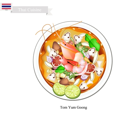 Thai Cuisine, Tom Yum Goong or Traditional Thai Thai Spicy and Sour Soup with Shrimps, Mushroom, Coconut Milk and Herbs. One of The Most Popular Dish in Thailand.