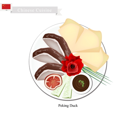 china cuisine: Chinese Cuisine, The Peking Roast Duck Skin Serve with Pancakes Rolled Sheet. One of Most Popular Dish in China. Stock Photo