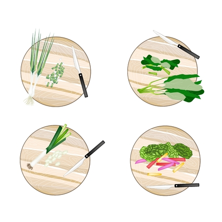 chives: Vegetable, Illustration of Chinese Kale, Rainbow Swiss Chard, Leek and Spring Onion on Wooden Cutting Boards.