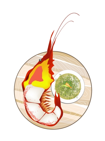 Thai Cuisine, Grilled Giant River Prawn with Spicy and Sour Sauce. One of The Most Popular Food in Thailand.