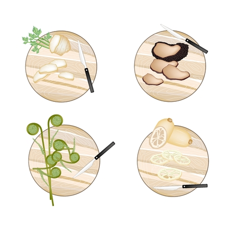 truffle: Vegetable, Illustration of Celery Root , Truffle Mushrooms, Fiddleheads Ferns and Water Lily Root on Wooden Cutting Boards. Illustration