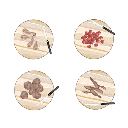 raw meat: Cuisine and Food, Different Types of Raw Meat on Wooden Cutting Boards.