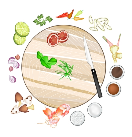 lemon grass: Thai Cuisine, 14 Ingredients Tom Yum Goong or Thai Spicy and Sour Soup with Prawns. One of The Most Popular Dish in Thailand.