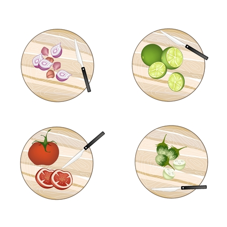 eggplant: Vegetable and Herb, Illustration of Shallot Onions, Limes, Tomatoes and Green Eggplant on Wooden Cutting Boards.