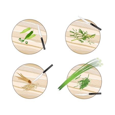 chives: Vegetable, Illustration of Garlic Chives, Water Mimosa, Okra and Fingerroot on Wooden Cutting Boards.